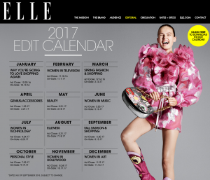 Elle publication deadline editorial calendar 2017